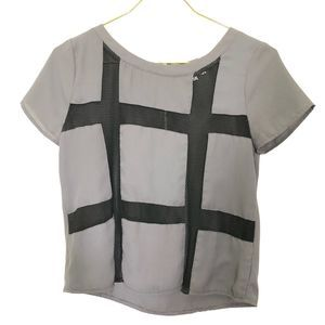 Socialite Gray Blouse with Black Mesh Cutouts